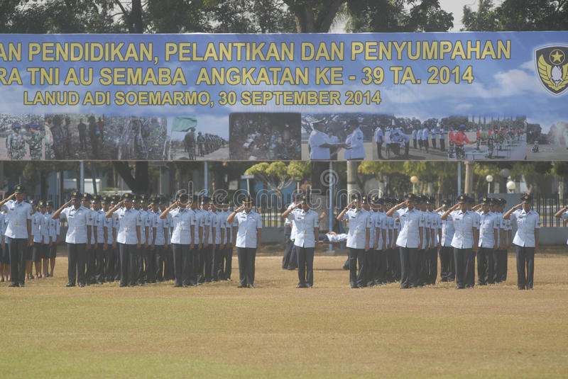 INDONESIAN MILITARY REFORM. The NCO inauguration of Indonesian Air Force, part of Indonesian Armed Forces (TNI), at Adi Soemarmo Airbase, Solo, Java, Indonesia royalty free stock photo