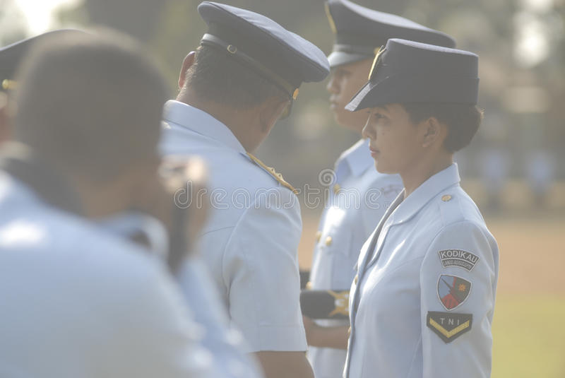 INDONESIAN MILITARY REFORM. The NCO inauguration of Indonesian Air Force, part of Indonesian Armed Forces (TNI), at Adi Soemarmo Airbase, Solo, Java, Indonesia stock images