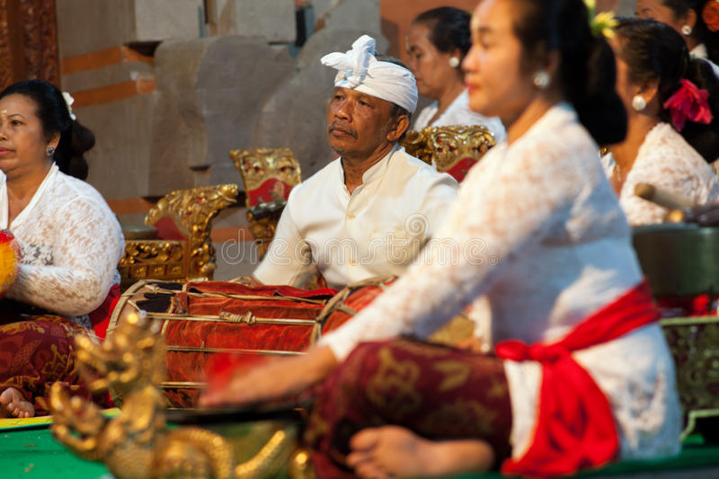 Indonesian musicians playing folk instruments. BALI, INDONESIA - SEP 23: Indonesian musicians playing folk instruments, INDONESIA 23 September 2012 stock photo