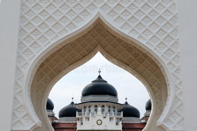 Indonesian muslim architecture, Banda Aceh. Detail of the Masjid Raya Baiturrahman mosque in Banda Aceh city in Indonesia, Sumatra island royalty free stock image