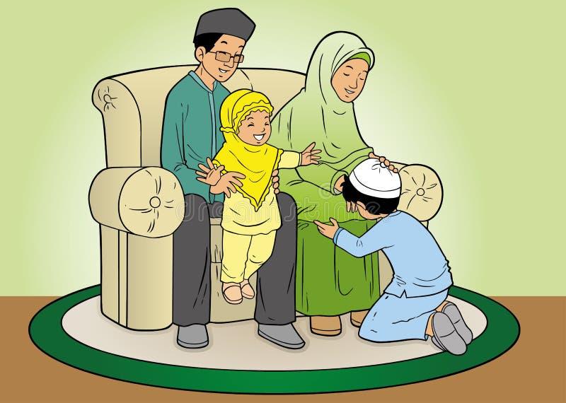 Indonesian muslim family bonding vector illustration
