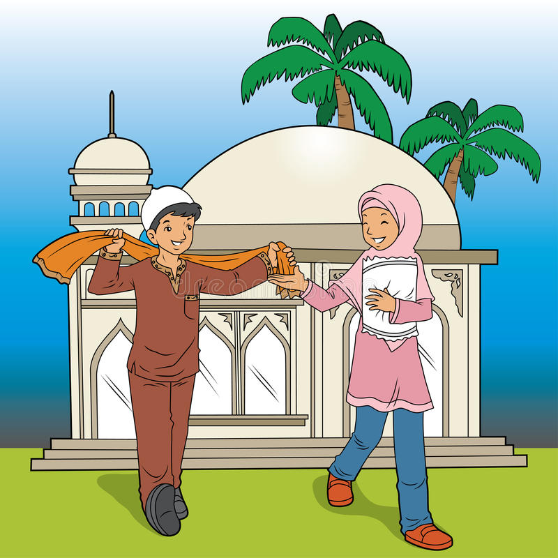 Indonesian Muslim Kids and Mosque vector illustration