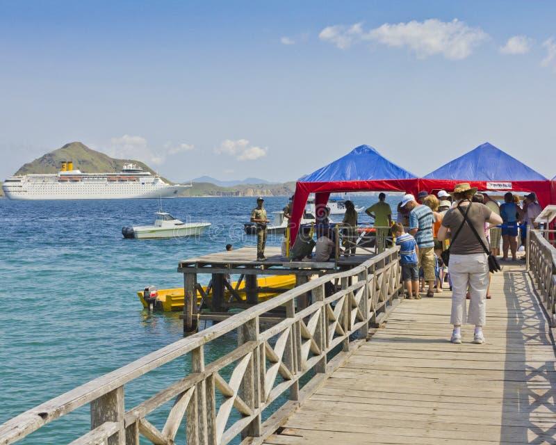 Indonesian pier for cruise ship at Komodo Island stock image