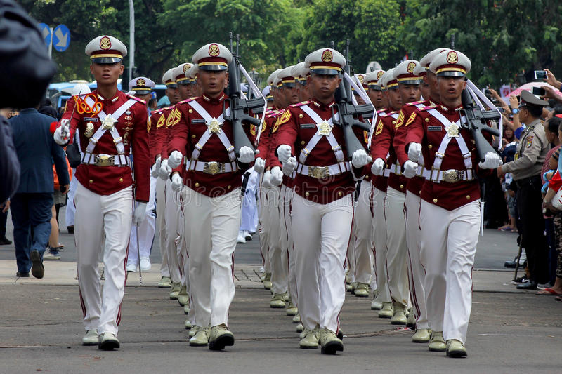 Indonesian Police Cadets Marching with Rifle royalty free stock images