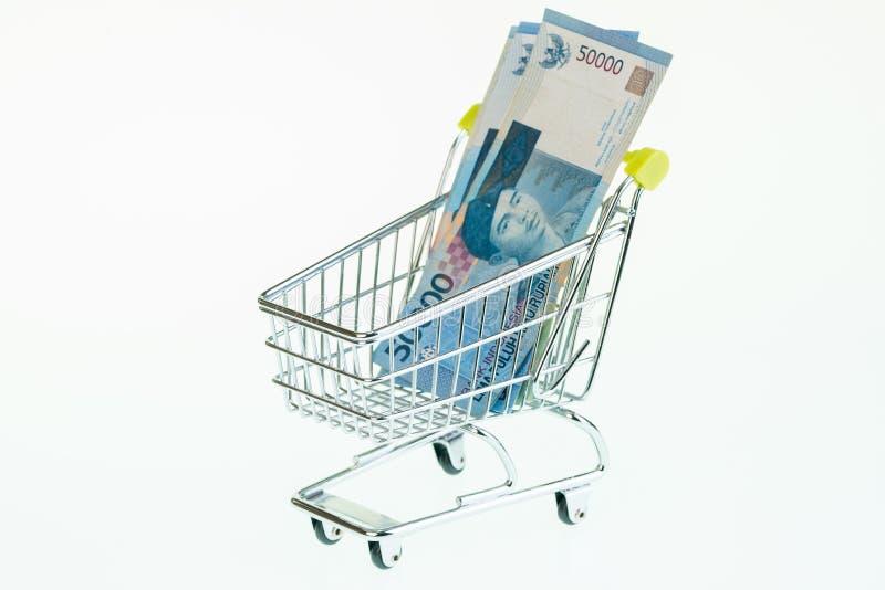 Indonesian Rupiah In Shopping Cart Stock Photo