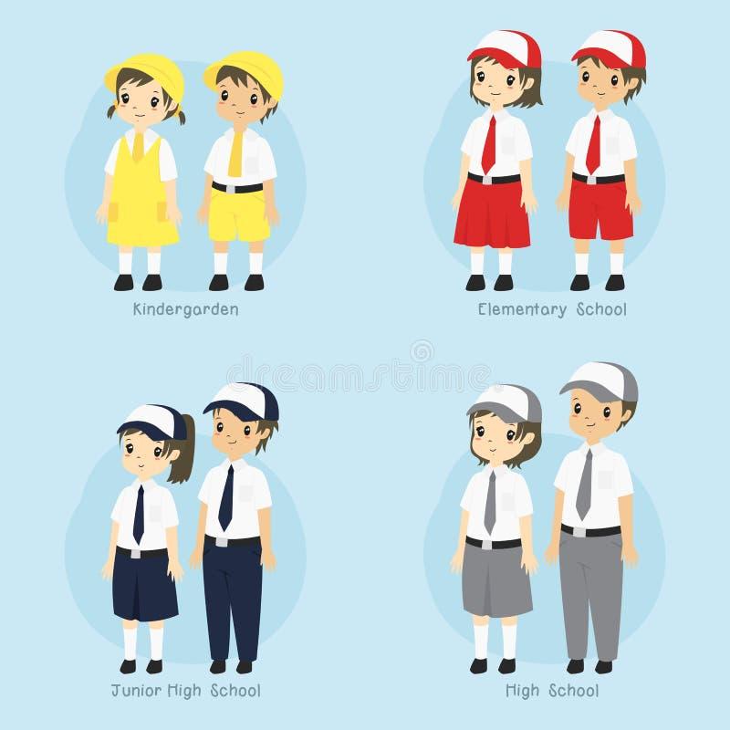 Indonesian Student School Uniform Vector Set royalty free stock images