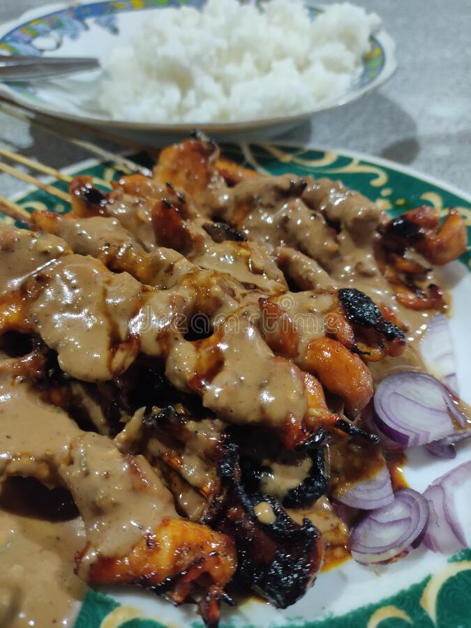 Indonesian traditional food is called sate royalty free stock photo