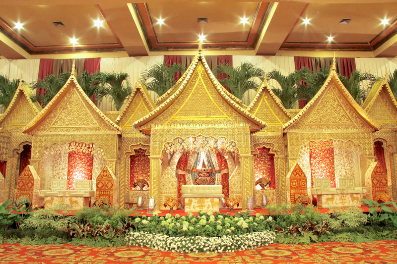 Indoor Wedding Venue Royalty Free Stock Photo: Indonesian Traditional Wedding Decoration Stock Image