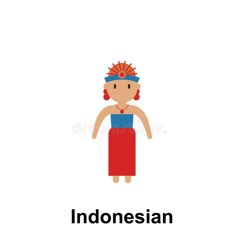 Indonesian, woman cartoon icon. Element of People around the world color icon. Premium quality graphic design icon. Signs and royalty free illustration
