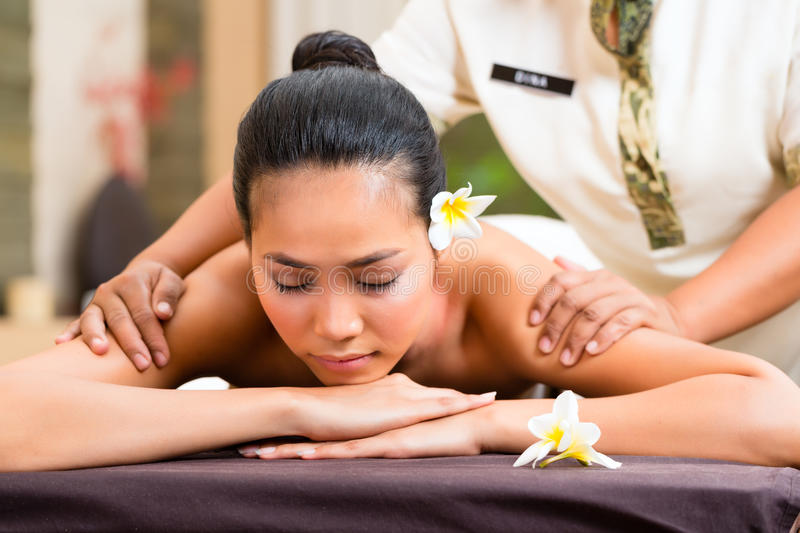 Greeting the asian woman spa