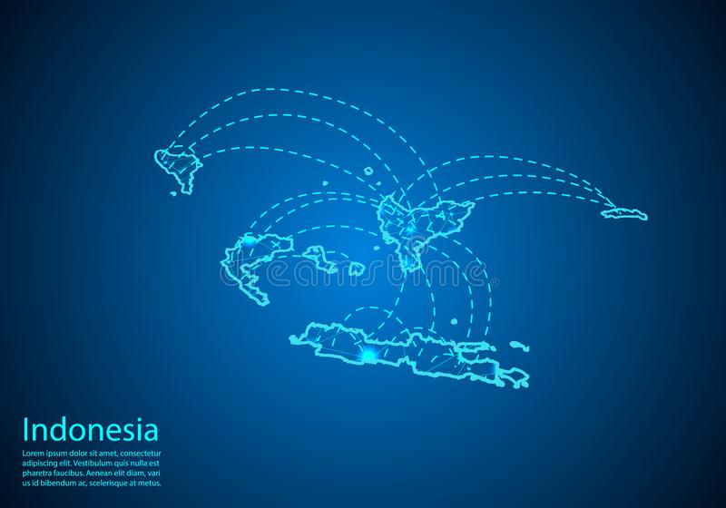 Indonesien översikt med knutpunkter som anknytas av linjer begrepp av global comm stock illustrationer