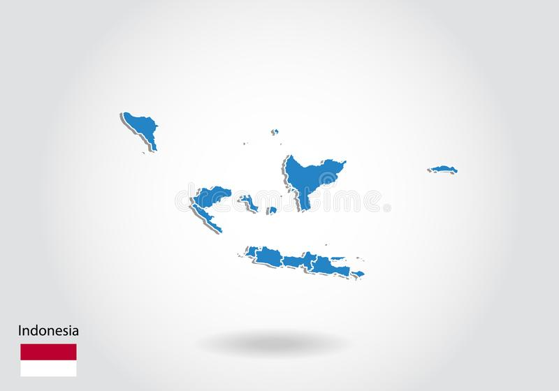 Indonesien översiktsdesign med stil 3D Blå Indonesien översikt och nationsflagga Enkel vektoröversikt med konturen, form, översik royaltyfri illustrationer
