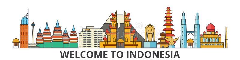 Indonesien översiktshorisont, plan tunn linje symboler, gränsmärken, illustrationer för indones Indonesien cityscape, indones royaltyfri illustrationer