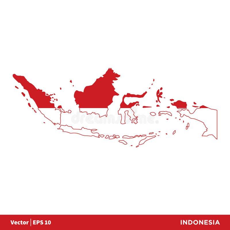 Indonesien - Asien landsöversikt och flaggasymbolsvektor Logo Template Illustration Design Vektor EPS 10 royaltyfri illustrationer