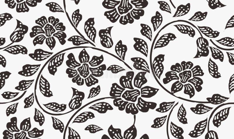 Indonesien-Batik-Motiv, Batik indonesisch: ist eine Technik des Decklacks färbend angewendet am ganzen Stoff oder am Stoff, der u vektor abbildung
