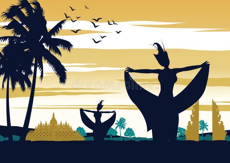 Indonesien dansshow på solnedgångtid, berömd kapacitet framme av gränsmärket, tappningfärgdesign stock illustrationer