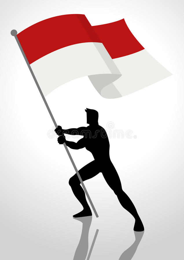 Indonesien eller Monaco flaggabärare royaltyfri illustrationer