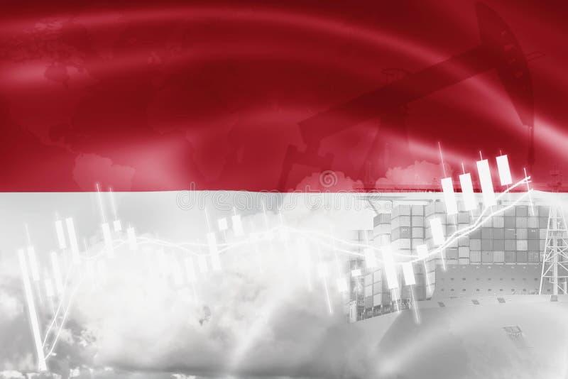 Indonesien flagga, aktiemarknad, utbytesekonomi och handel, oljeproduktion, behållareskepp i export- och importaffär och vektor illustrationer