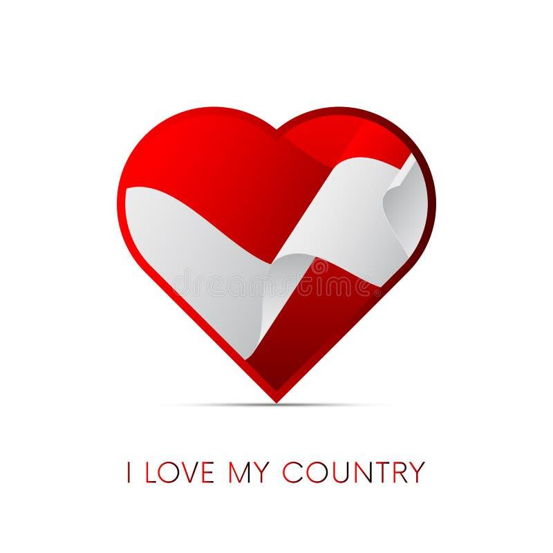 Indonesien flagga i hjärta Jag älskar mitt land Tecken också vektor för coreldrawillustration stock illustrationer