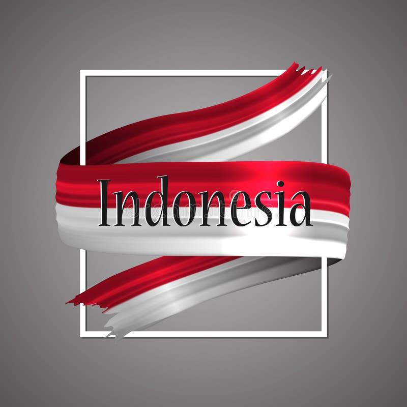Indonesien flagga Officiella medborgarefärger Realistiskt band för indones 3d För härlighetflagga för vinkande vektor patriotiskt royaltyfri illustrationer