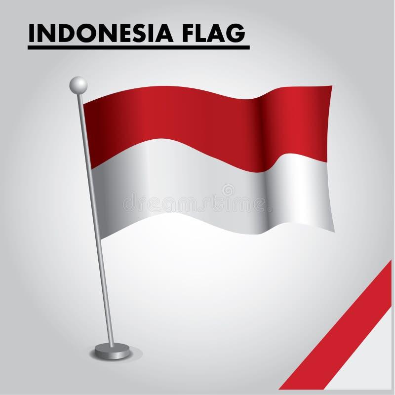 INDONESIEN flagganationsflagga av INDONESIEN på en pol vektor illustrationer