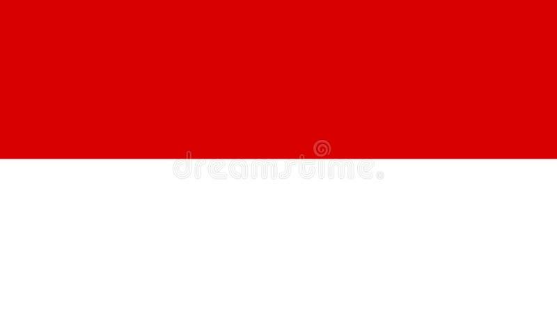 Indonesien flaggasymbol i plan stil Nationell teckenvektorillustration Klok aff?rsid? royaltyfri illustrationer