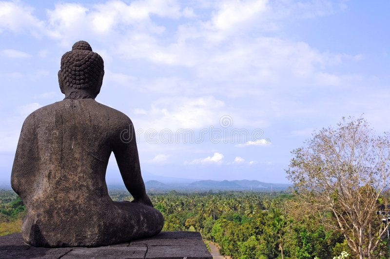 Indonesien, Java, Borobudur: Sonnenaufgang stockbild
