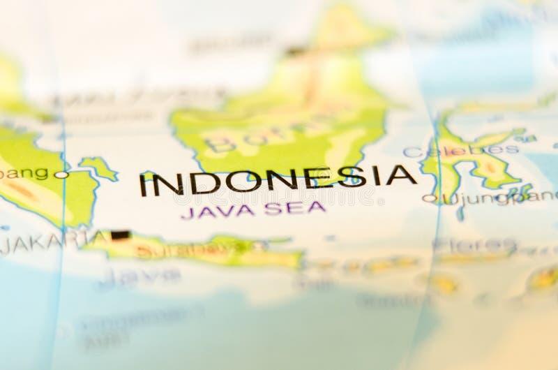 Indonesien-Land auf Karte lizenzfreie stockfotografie