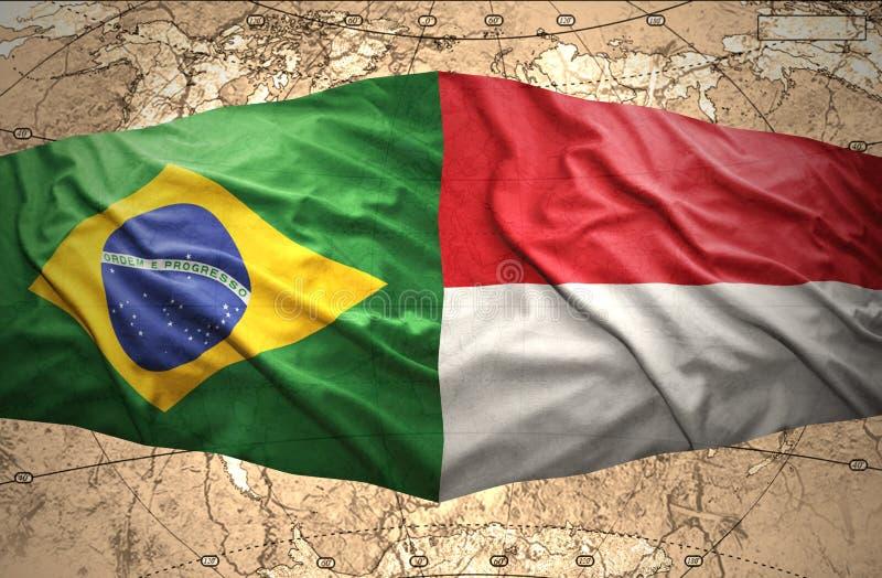 Indonesien och Brasilien vektor illustrationer