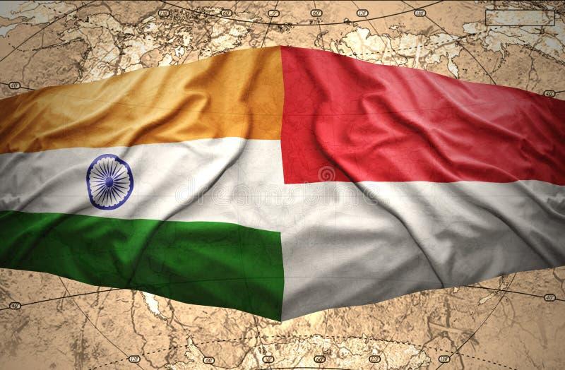Indonesien och Indien royaltyfri illustrationer