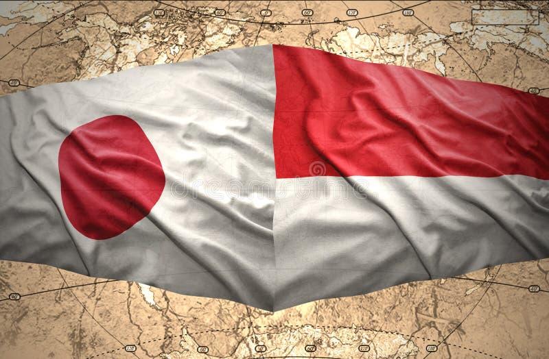 Indonesien och Japan royaltyfri illustrationer