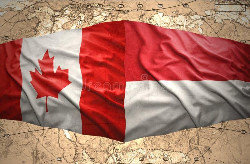 Indonesien och Kanada stock illustrationer