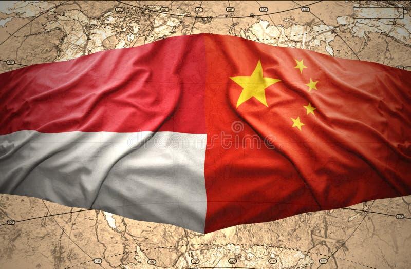 Indonesien och Kina vektor illustrationer