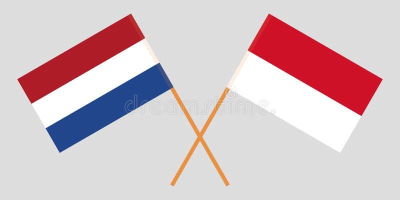 Indonesien och Nederl?nderna De indones- och Netherlandish flaggorna Officiella f?rger Korrigera proportionen vektor stock illustrationer