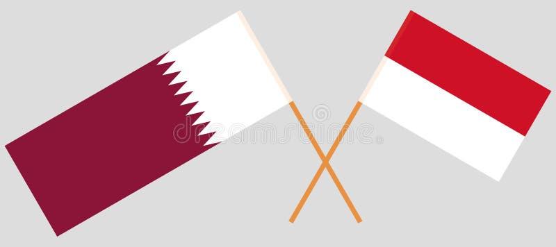 Indonesien och Qatar De indones- och Qatari flaggorna Officiella f?rger Korrigera proportionen vektor royaltyfri illustrationer