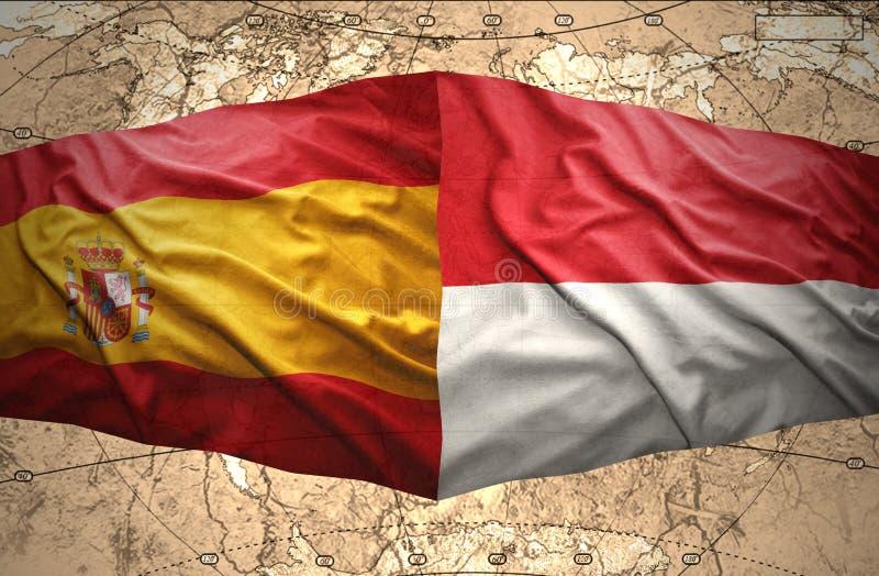 Indonesien och Spanien royaltyfri illustrationer