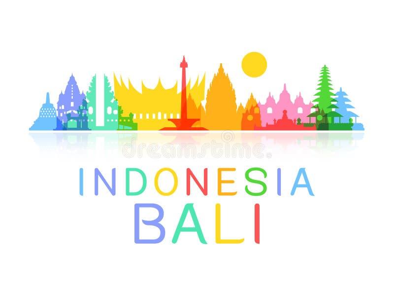 Indonesien-Reise-Marksteine stock abbildung