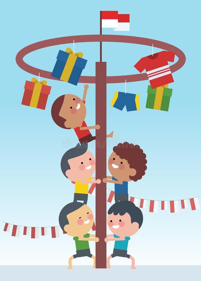 Indonesien som den traditionella sakkunniga spelar under självständighetsdagen, barn, klättrade arecamuttern Plan illustrationsti stock illustrationer