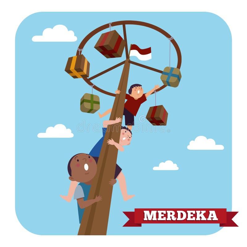 Indonesien spelar den traditionella sakkunniga under självständighetsdagen för Merdeka dagindones Barn klättrade arecamuttern royaltyfri illustrationer