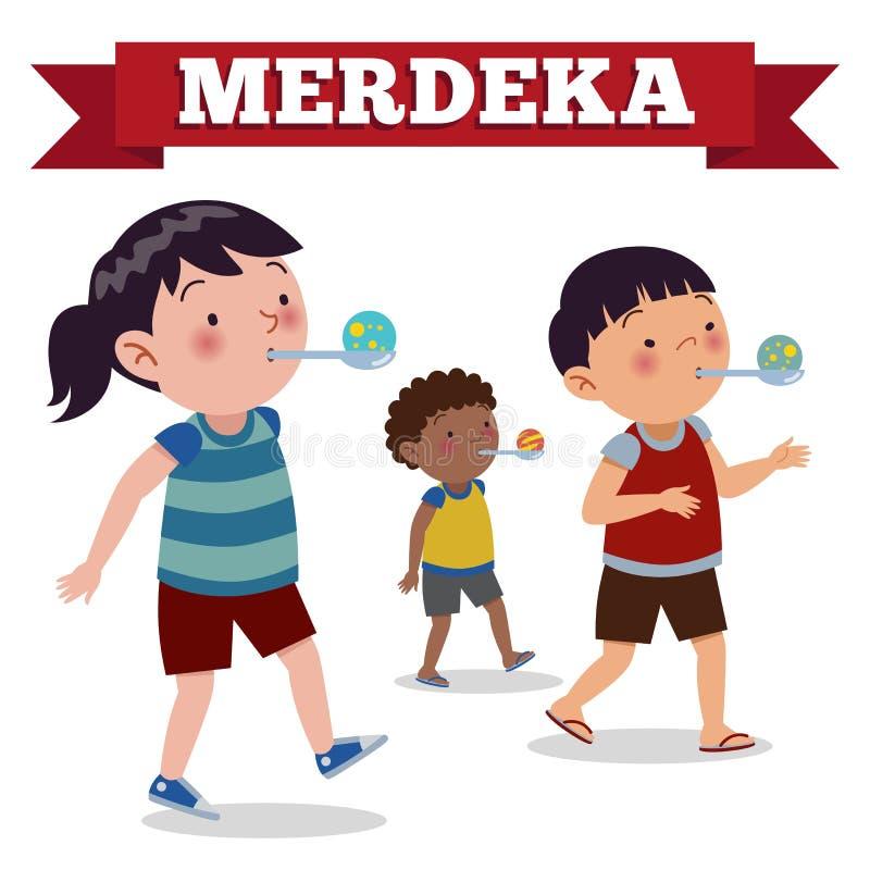 Indonesien spelar den traditionella sakkunniga under självständighetsdagen för Merdeka dagindones Loppet kommer med marmor i sked vektor illustrationer