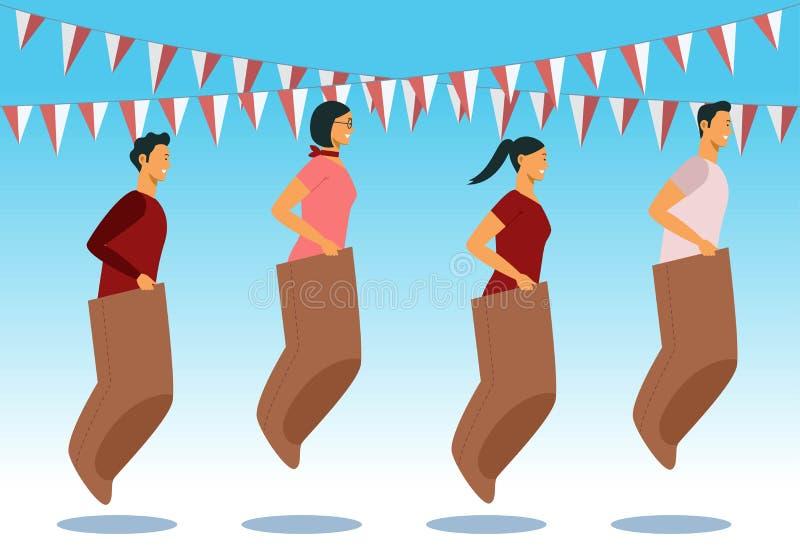 Indonesien spelar den traditionella sakkunniga under självständighetsdagen, tonåringar som springer inom säcken stock illustrationer