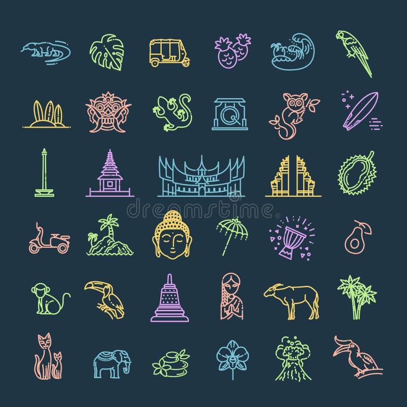 Indonesien symbolsupps?ttning Dragningar linje design Turism i Indonesien, isolerad vektorillustration traditionella symboler royaltyfri illustrationer