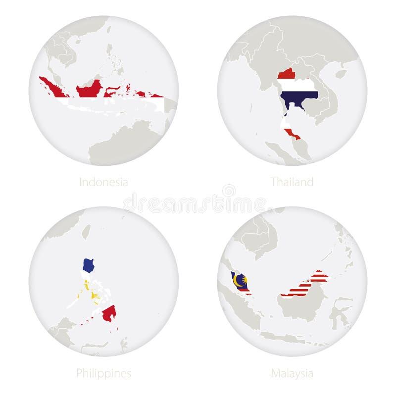Indonesien, Thailand, Filippinerna-, Malaysia översiktskontur och nationsflagga i en cirkel royaltyfri illustrationer