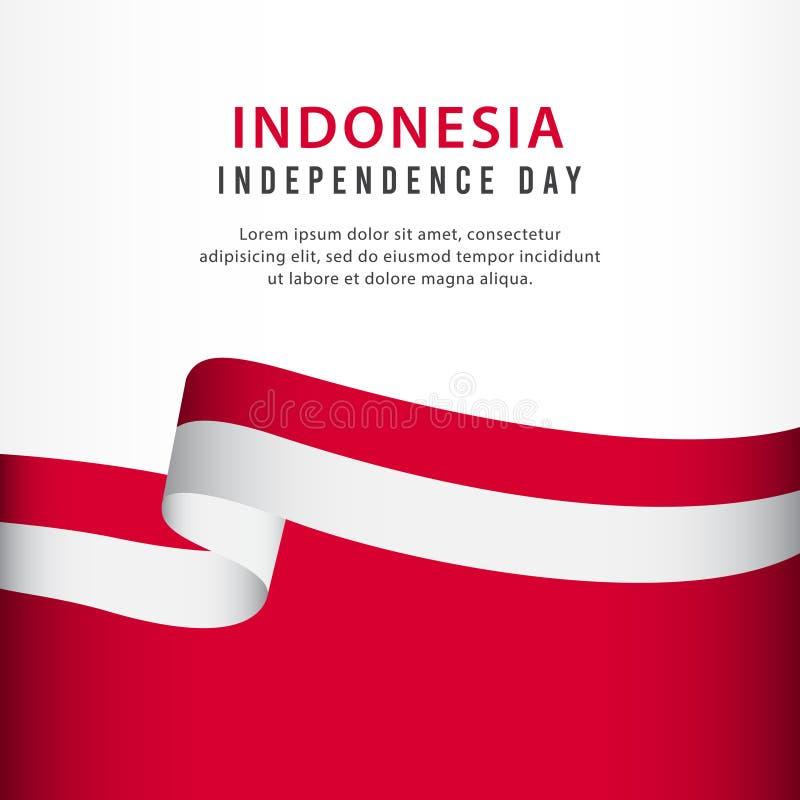 Indonesien-Unabhängigkeitstag-Feier, Fahnenbühnenbild Vektor-Schablonen-Illustration stock abbildung