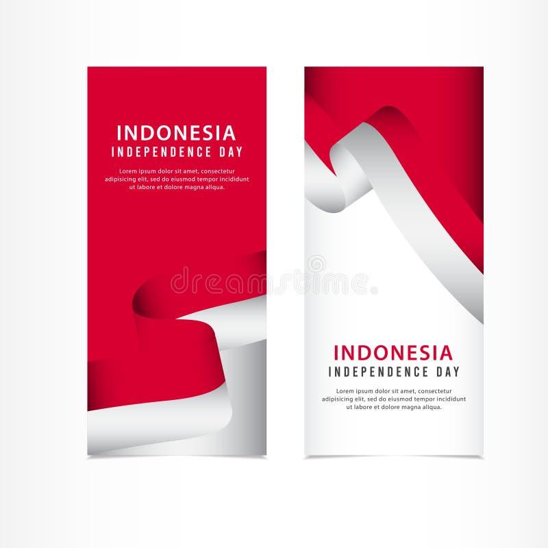 Indonesien-Unabhängigkeitstag-Feier, Fahnenbühnenbild Vektor-Schablonen-Illustration lizenzfreie abbildung