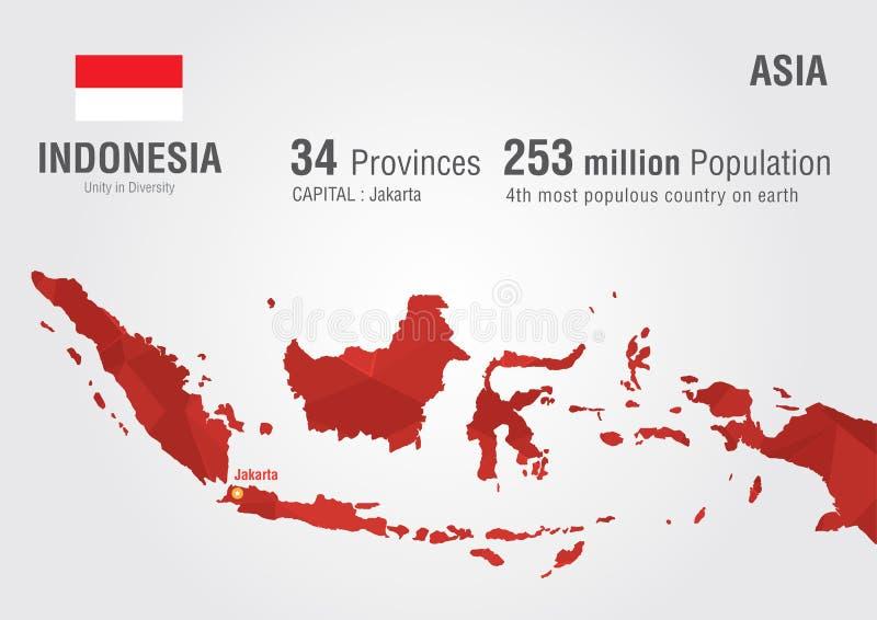 Indonesien världskarta med en PIXELdiamanttextur royaltyfri illustrationer
