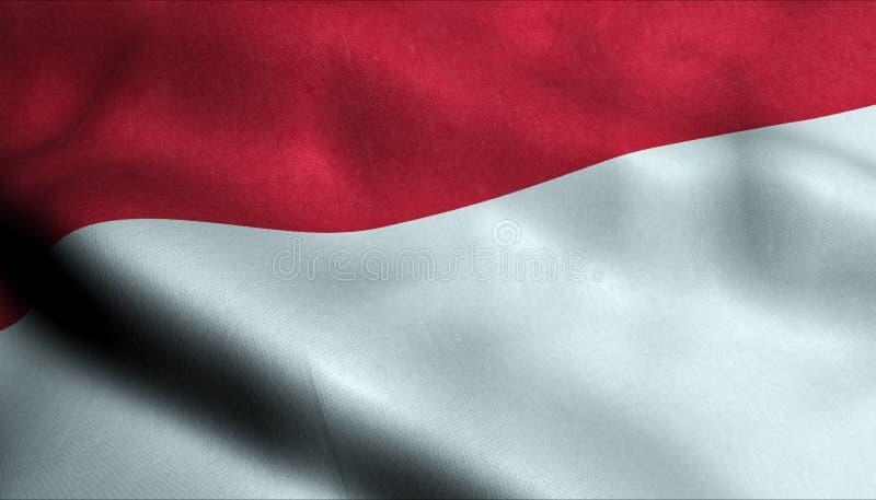 Indonesien vinkande flagga i 3D vektor illustrationer