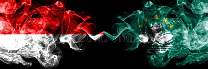 Indonesien vs Macao, Kina rökiga mystikerflaggor förlade sidan - vid - sidan Tjocka kulöra silkeslena rökflaggor av Indonesien oc vektor illustrationer