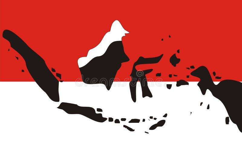 Indonesien zeichnet lokalisierten roten und weißen Hintergrund auf vektor abbildung