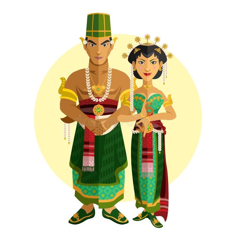 Indonesisch Centraal Java Wedding Ceremony royalty-vrije illustratie